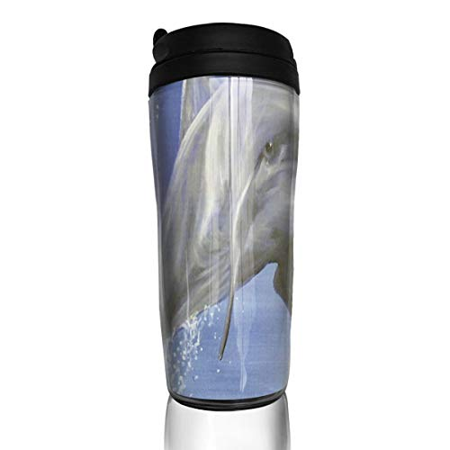 Coffee Mug Dolphin Rising Ocean Travel Tumbler Insulated Leak Proof Drink Containers Holder Marvellous 12 Ounces ()
