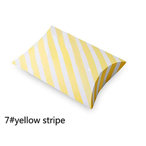 Pillow-Like Strip Paper Gift Box Birthday Wedding Party Decoration DIY Favor Baby Shower Wh 7 Yellow Stripe