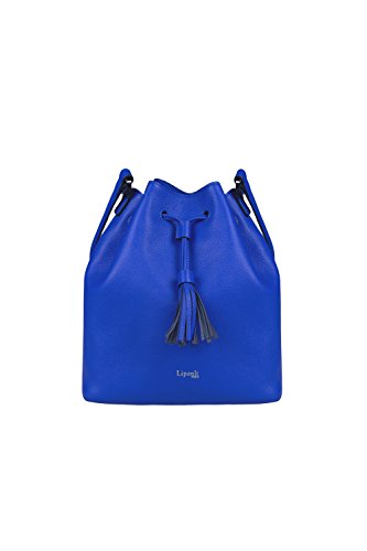 Lipault - Plume Elegance Bucket Bag - Medium Drawstring Shoulder Crossbody Handbag with Tassel - Exotic Blue