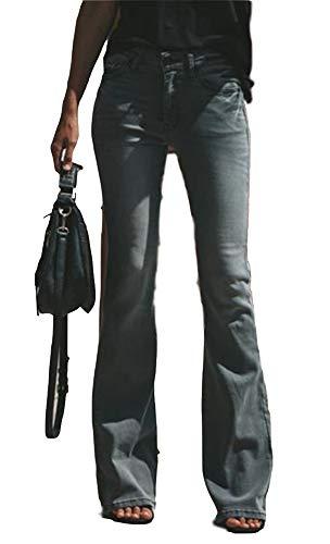 Trousers Bootcut Cotton (FEESON Women's Fashion Slim High Waist Stretchy Regular Bootcut Jeans Grey)