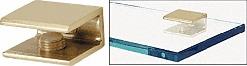 CRL Brass Finish Solid Brass Square Glass Shelf Clamp