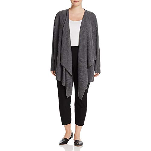 Eileen Fisher Womens Plus Wool Angle Front Cardigan Top Gray 2X