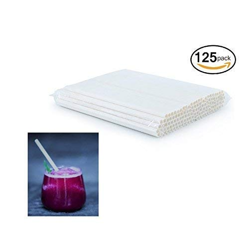 Earth Buddy 125 PCS Biodegradable White Paper Straw. Eco Friendly Drinking Straw for Juice, Smoothie, Fruit Drinks, Shakes that will last at least 24 hrs of use (White Paper Straw, 125) by Earth Buddy