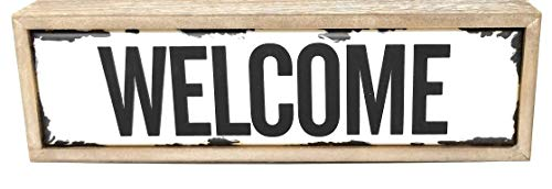 (BG Home Collection Welcome Sign, Enamel Vintage/Rustic Metal Plaque in Distressed)