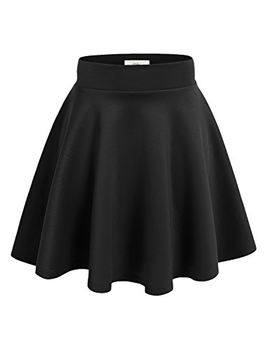 Simlu Women's A Line Flared Skater Skirt, Black,