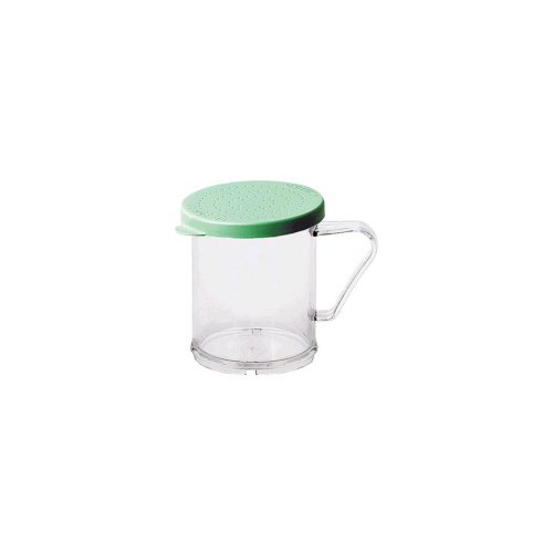 - Cambro 96SKRF135 Clear 10 Oz Shaker with Green Fine Grain Product Lid