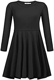 Arshiner Girls Long Sleeve Dress A line Twirly Skater Casual Dress 3-12 Years