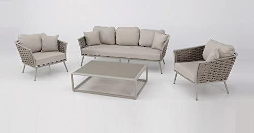 Set Sofas Terraza Aluminio Cuerda Beige Medas Amazon Es Jardín