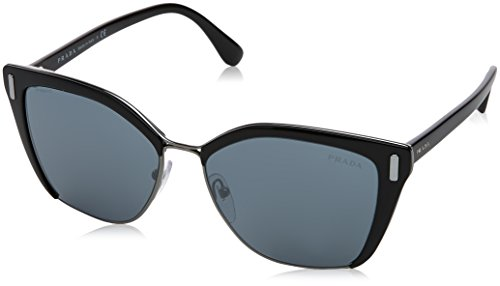Prada Women's 0PR 56TS Black/Gunmetal/Grey Mirror Black - Round Prada Sunglasses