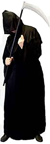 Halloween-Scary-Death GRIM REAPER Black Robe Fancy Dress Costume - Plus Sizes from SMALL to XXXXL -