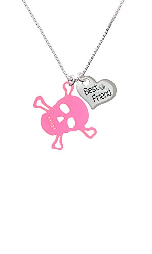 Acrylic Large Pink Skull - Best Friend Heart Necklace