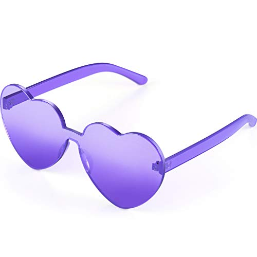 Maxdot Heart Shape Sunglasses Party Sunglasses (Transparent Purple) (Purple Sunglasses)