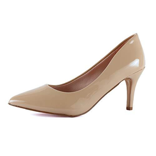 - Guilty Shoes - Womens Classic Pointy Toe Low Kitten Heel Office Dress Slip On Fashion Pump (9 M US, 16-beige1-patent)