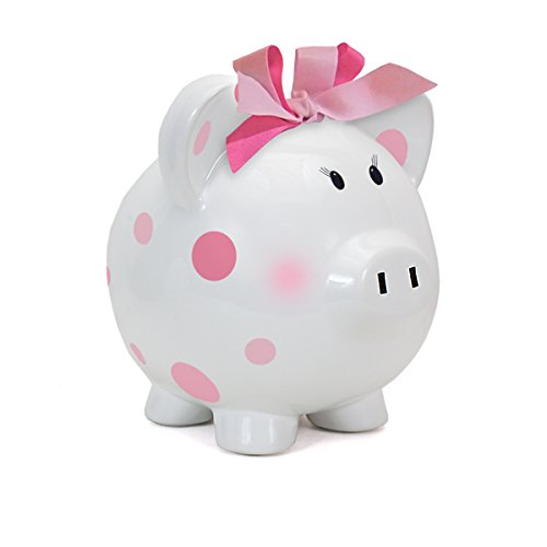 Child to Cherish Large Pig White with Polka Dot Toy Bank, Pi