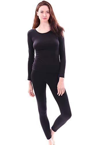 - Women's Microfiber Fleece Thermal Underwear Long Johns Set AZ 2000 Black XL