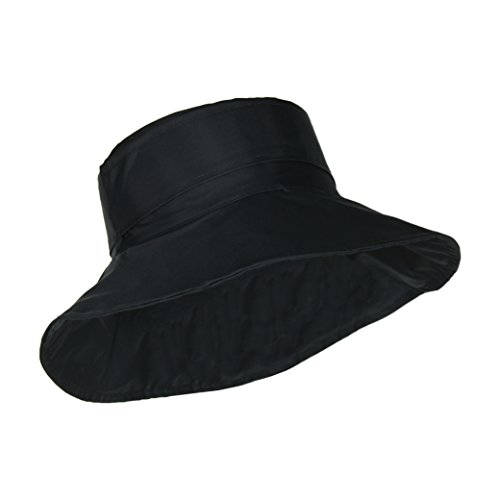 Black Packable Bucket Rain Hat w/ Buckle, 3.5 inch Wide Brim (Bucket Style Rain Hat)