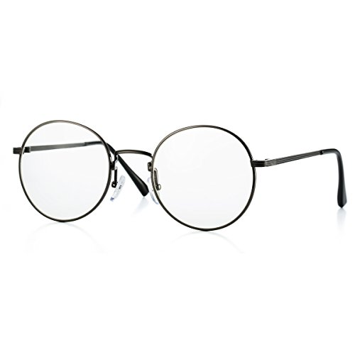 AZORB Non-prescription Round Clear Lens Glasses Circle Eyeglasses Frame (Gunmetal, - How Fit To Adjust To Sunglasses