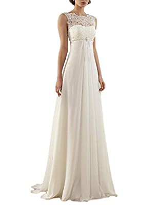 OYISHA Sleeveless Lace Chiffon Evening Wedding Dresses Long Bridal Gowns WD20