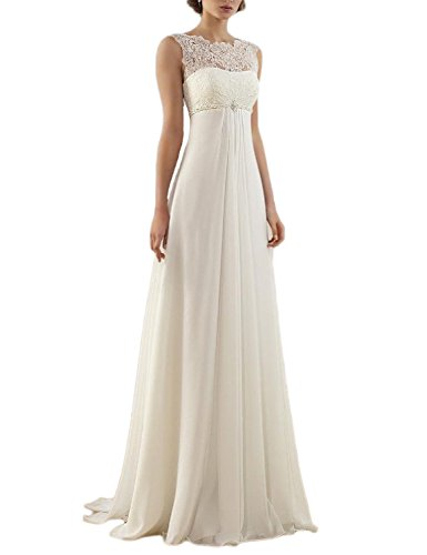 OYISHA Sleeveless A-Line Empire Lace Chiffon Wedding Dress 2016 For Bride WD18 Ivory 16 (Ivory Lace Empire Waist Dress)