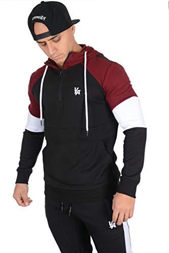 YoungLA Quarter Zip Hoodie Hooded Sweatshirt for Men Pullover with Pockets 519 Black/Burgundy Medium