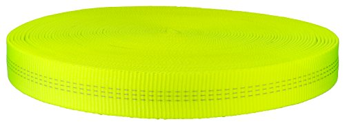 - 1 Inch Hot Yellow Tubular Nylon Webbing Closeout, 20 Yards