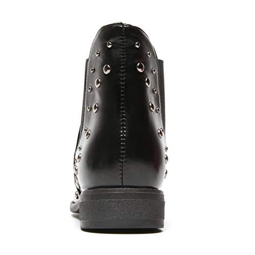 Bottes Artificiel Avec Classique Chaussures Mode Carré Moelleuses Femme Sanfahion Martain Noir Boots Talons Bottine Fourrure dXwSqpx