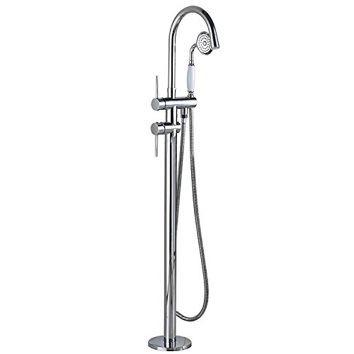 Zovajonia Floor Mounted Chrome Bathroom Tub Filler Dual Handles Free Standing Bathtub LED Light Spout Shower Faucet with Handheld Sprayer