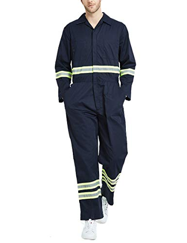 TOPTIE Men's Classic Work High Visibility Coverall with Reflective Trim, Big-Tall-Navy-3XL