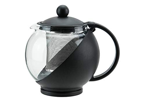 Winco GTP-25, 25 Oz 6 X 4-3/4 X 5-1/2-Inches Glass and Plastic Tea Pot, Teapot with Infuser, Carafe ()