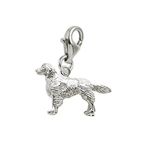 - Sterling Silver Golden Retriever Charm With Lobster Claw Clasp, Charms for Bracelets and Necklaces