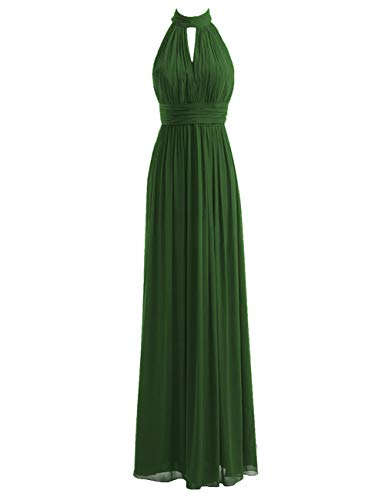 Bridesmaid Dresses Long Prom Dress Chiffon Halter Evening Gowns Pleat Wedding Party Dress Dark Green M (Best Quinceanera Dresses In The World)