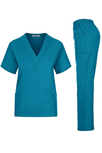 MedPro Women's Medical Scrub Set Mock Wrap and Cargo Teal S ()