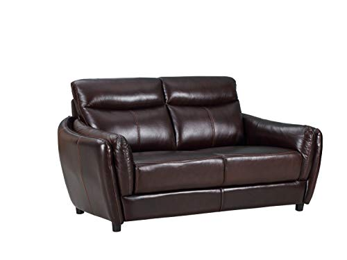Blackjack Furniture 9778-BROWN-L Troy Classic Top Grain Leather Living Room Loveseat, 68