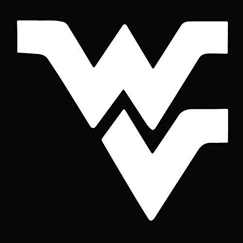 NBFU DECALS WVU WEST Virginia University (White) (Set of 2) Premium Waterproof Vinyl Decal Stickers for Laptop Phone Accessory Helmet CAR Window Bumper Mug Tuber Cup Door Wall Decoration ()