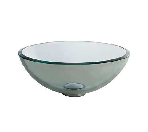 Kraus GV-101-14-SN Tempered glass Solid brass Above counter Round Bathroom Sink, 14 x 14 x 5.5 inches, Bronze