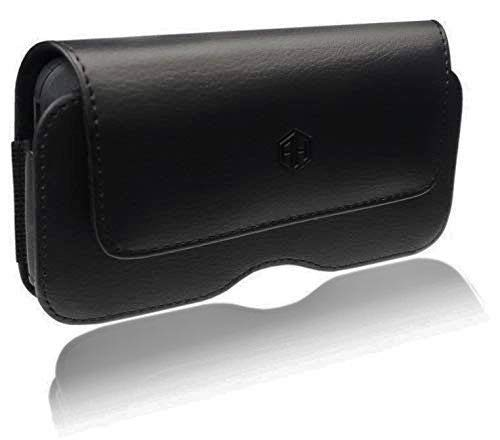 Horizontal Leather Cell Phone Belt Pouch, Compatible w/iPhone Xs Max, 8 Plus 7 Plus 6 Plus Holster Clip fits Otterbox Defender Case/Battery Case/Extra Big Case On - Inside Dims [7