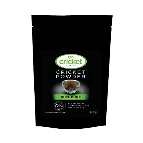 Cricket Flour: 100 Pure Cricket Powder 114gram (Made from North American Roasted Crickets) Great High Protein Option for Shakes, Baking, and Recipes. Made in Portland, Oregon and 25+ Cookbook Included
