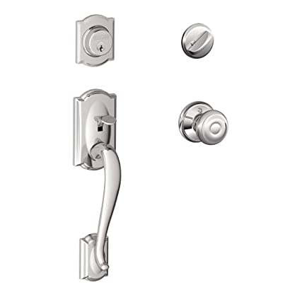 Image of Camelot Single Cylinder Handleset and Georgian Knob, Bright Chrome (F60 CAM 625 GEO) Home Improvements