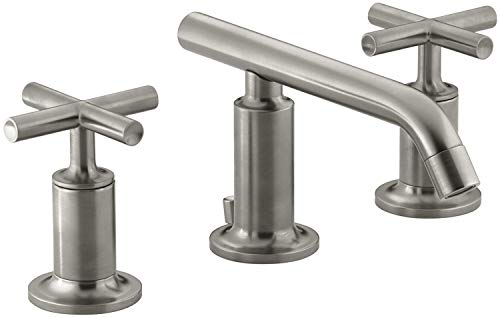 KOHLER K-14410-3-BN Purist Widespread Lavatory Faucet with Low Spout and Low Cross Handles, Vibrant Brushed Nickel
