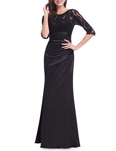 Ever-Pretty Womens Elegant Lace Long Sleeve Formal Floor Length Evening Dress 4 US Black
