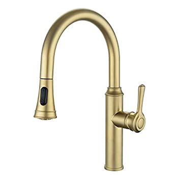 Image of Peppermint Kitchen Sink Faucet Champagne Gold Single Handle with Pull Down Sprayer Home Improvements