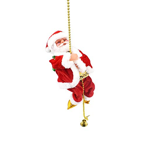 homese Santa Claus Climbing Rope Christmas Ornament Battery Operated Singing Dancing Walking Climbing Doll Toys Gifts Decorations ()