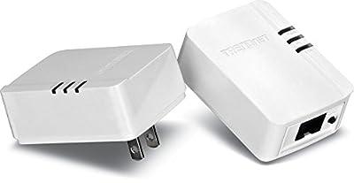TRENDnet Powerline AV200 Mini Network Adapter Starter Kit, up to 200 Mbps over existing electrical lines, TPL-308E2K