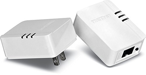 TRENDnet Powerline AV200 Mini Network Adapter Starter Kit, up to 200 Mbps over existing electrical lines, TPL-308E2K