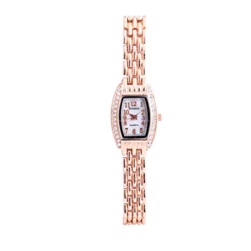 Gorgeous Pave - XBKPLO Women Quartz Watches, Fashion Vintage Round Pave Crystal Bezel Analog Wrist Watch Lady Rose Gold Bracelet Stainless Steel Strap