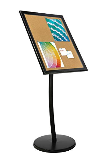 Outdoor Enclosed Advertising Menu Display with Cork Board on Curved Floor Post, Locking, Warranty (22x28, Magnetic)
