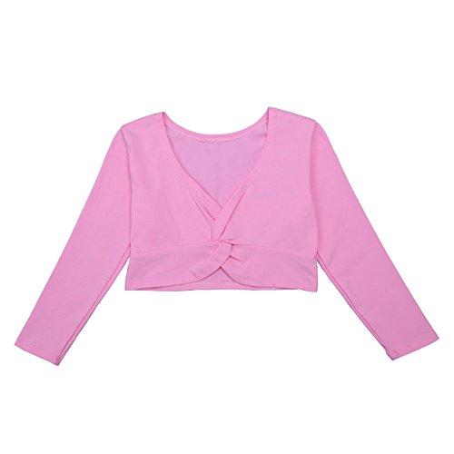 iiniim Kids Girls Ballerina Long Sleeve Front Twist Knot Cotton Wrap Tops Dance Cardigan Pink 5-6