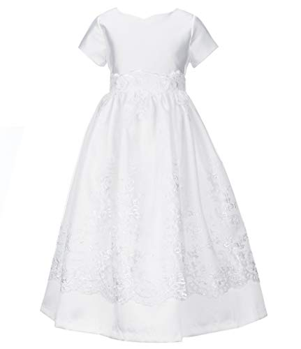 - Bonnie Jean Girl's First Communion Dress, Short Sleeve (8) White
