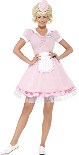 Ladies 1950s 50s American Diner Girl TV Movie Carnival Hen Do Night Party Fancy Dress Costume Outfit (UK 12-14)