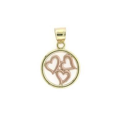 14 carats-Bicolore-JewelryWeb pendentif en forme de cercle de cœurs